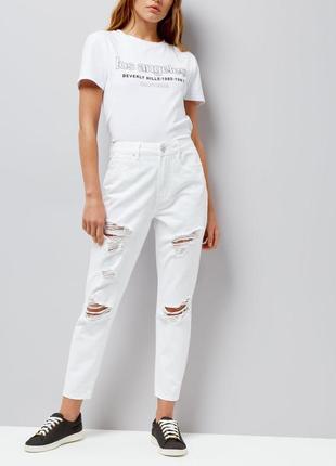 Джинсы белые мом с потёртостями new look размер м
