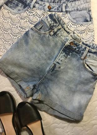 Шорты джинсовые с высокой посадкой new look размер 10