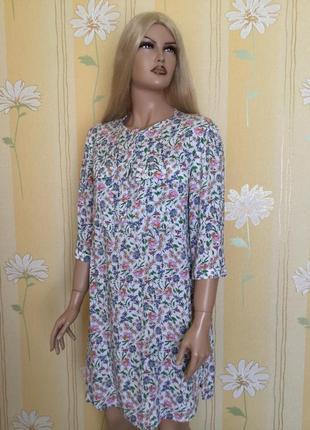 Платье рубашка в цветы h&m размер s