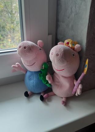 Свинка Пеппа Peppa pig и Джордж мягкие тактильные с гранулятором