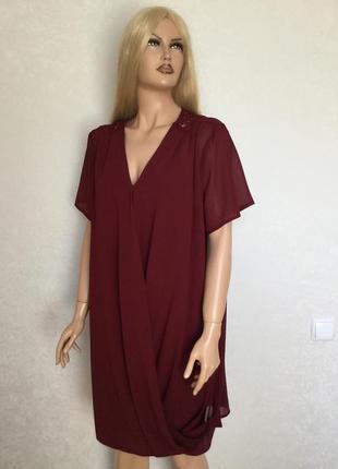 Платье туника на запах цвета марсала george размер 16/18
