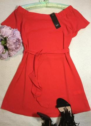 Платье красное на плечи f&f размер 6/8