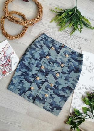 Оригинальная юбка с декоративными пуговицами с левами синяя ми...