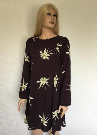Платье цвета марсала в цветы h&m размер 10