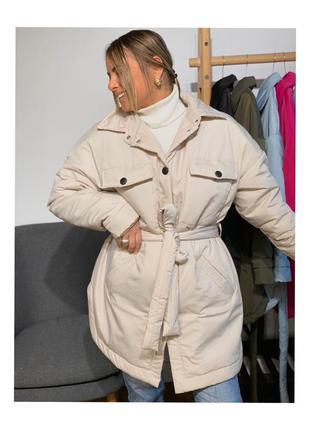 Куртка рубашка теплая женская тренд сезона