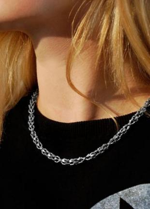 Шикарная серебряная цепь, литьевая, 925