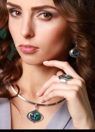 Cеребряный кулон с мозаикой, натуральные камни, ручная работа,...