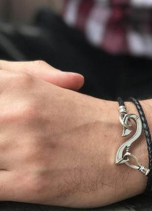 Мужской серебряный браслет с кожей, 925, чернение