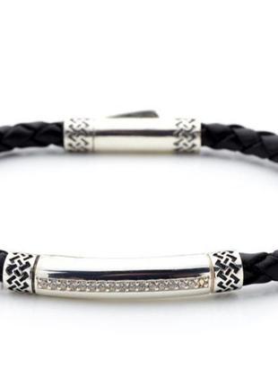 Мужской серебряный браслет с кожей ,чернение, 925