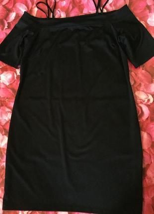 Платье трикотажное с открытыми плечами h&m 14 размер