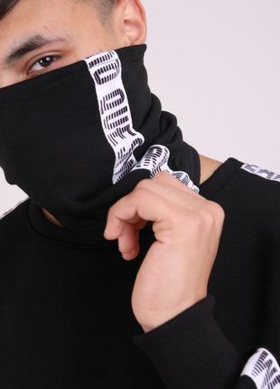 Бафф quest wear white чёрный с лампасом женский / мужской / ша...