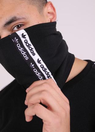 Бафф adidas duo чёрный с лампасом женский / мужской / шарф / м...