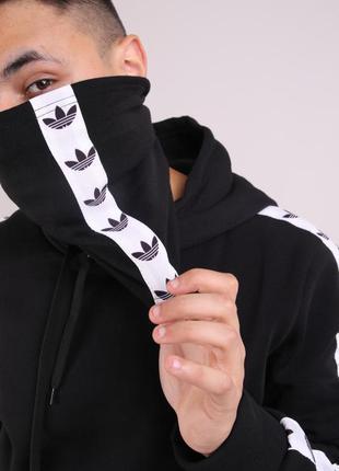 Бафф adidas чёрный с лампасом женский / мужской / шарф / маска...