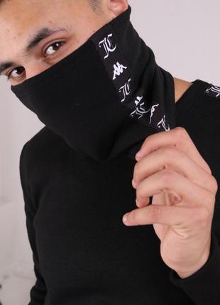 Бафф kappa x juicy чёрный с лампасом женский / мужской / шарф ...