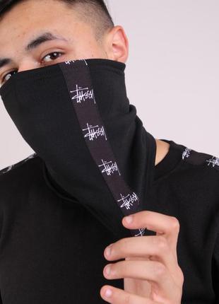 Бафф stussy чёрный с лампасом женский / мужской / шарф / маска...