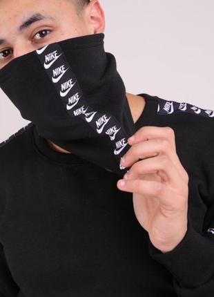 Бафф nike чёрный с лампасом женский / мужской / шарф / маска д...