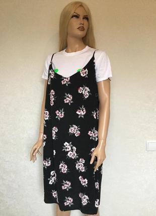 Платье в цветы на тонких бретельках new look размер 20