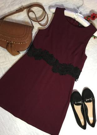 Платье с топом с кружевом  цвета марсала warehouse 12...