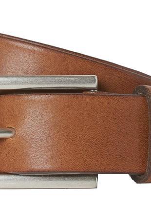 Кожаный мужской ремень для брюк H&M коричневый