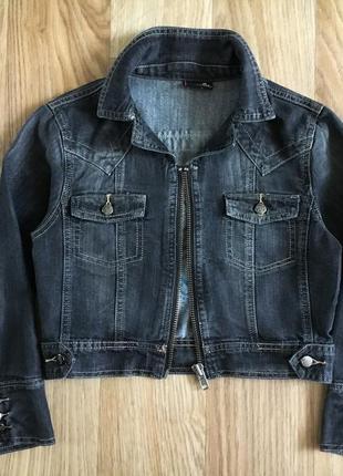 Куртка котонка укороченный джинсовый пиджак женский d-xel с хс