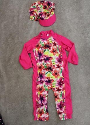 Купальный костюм на девочку 2-3 года с кепкой