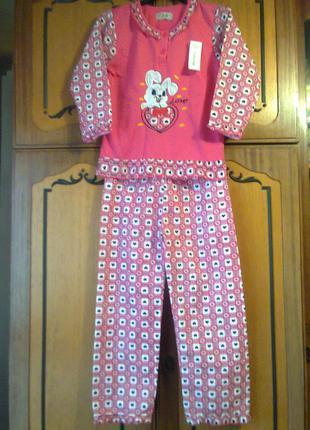 Теплая хлопковая пижама для девочек. рост - 146 см.на 11-12 лет.