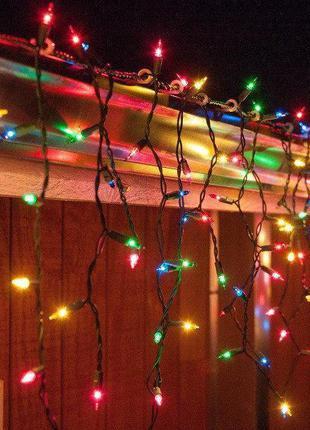 Гирлянда бахрома 100 LED 2,2х0,6 м с заглушкой цвет микс (7164)