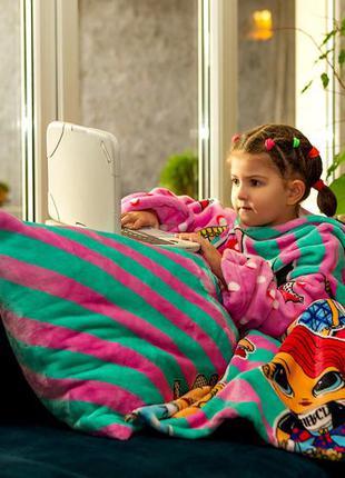 Плед с рукавами для девочки теплый яркий разноцветный рисунок ...