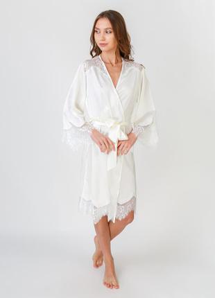 Serenade 91 женский домашний халат шелк сатин с кружевом