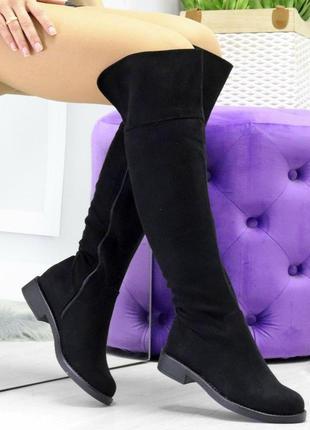Удобные черные женские замшевые высокие сапоги ботфорты на низ...