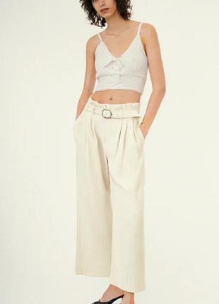 Широкие брюки с поясом zara цвета экрю