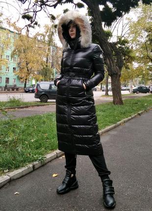 Пуховик - пальто moncler длинный женский с натуральным мехом
