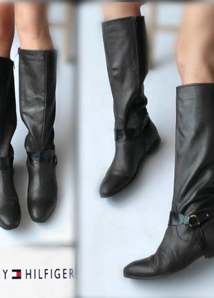 40-41р кожа tommy hilfiger кожаные высокие сапоги