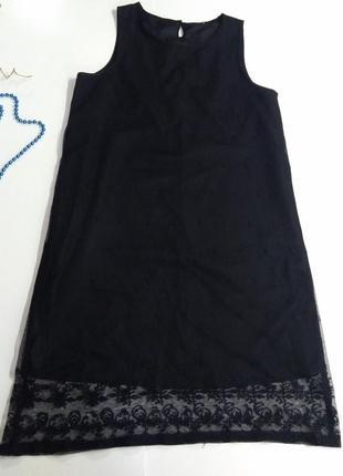 Черное кружевное платье размер 38