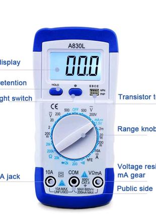 Цифровой мультиметр A830L, тестер с функцией зуммера