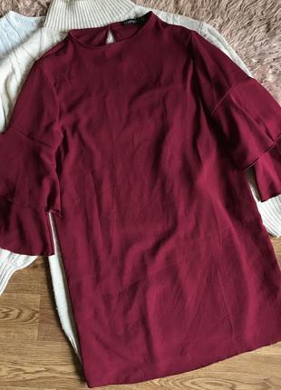 Свободное платье бордо(m)
