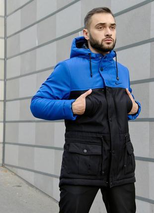 Зимняя парка куртка nike winter черно-синяя легкая и теплая ку...