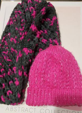 Зимний, теплый, яркий комплект снуд, хомут, шарф и шапочка