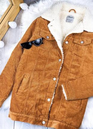 Куртка вельветовая на меху удлинённая denim co размер xs
