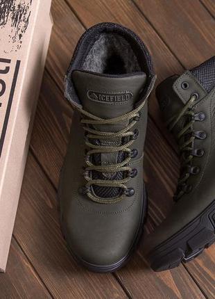Мужские зимние кожаные ботинки icefield olive classic