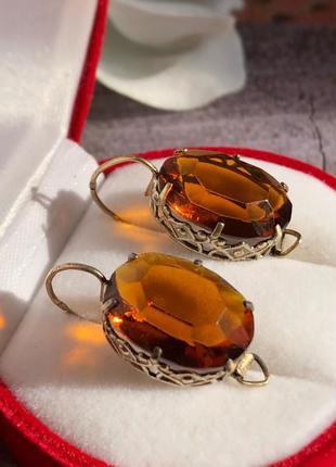 Серьги советские серебро 875 проба ссср цитрин