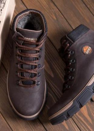 Мужские зимние кожаные ботинки icefield chocolate classic
