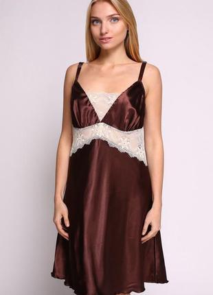 Сорочка serenade 1052 коричневая атласная с кружевом