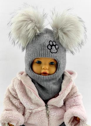 Детская шапка шлем 48-50; 50-52; 52-54 54-56 размер теплые шапки