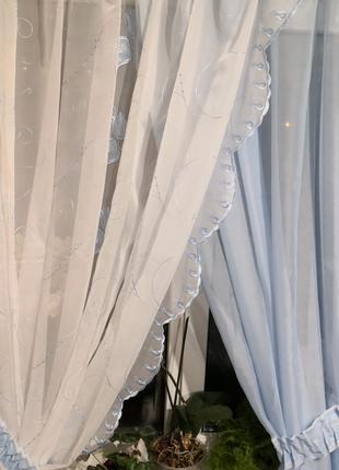 Занавеска штора тюль две половинки с подхватами