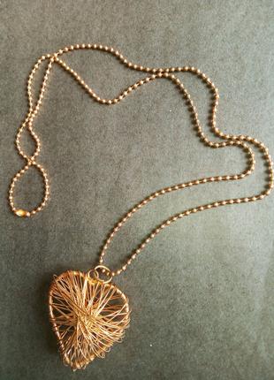 Ожерелье сердце под золото