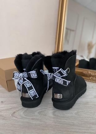 Ugg mini bow черные угги