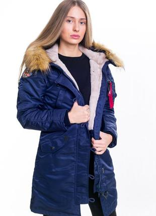 Женская зимняя куртка аляска olymp n-3b slim fit, navy