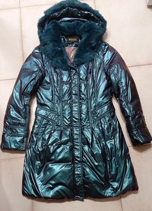 Космическое яркое пальто куртка синтепон с натуральным мехом