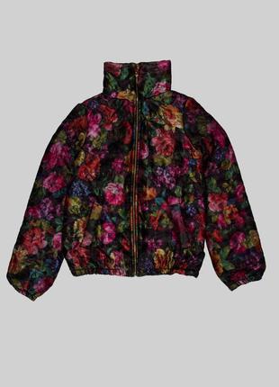 Куртка, демисезонная, детская, на девочку, черная, в цветочный...